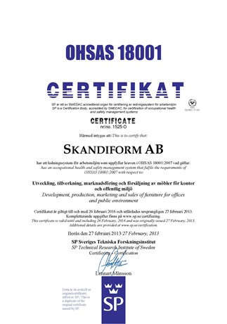 Work environment certificate